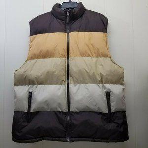 BlueZ 4XL Puffer Vest Zip Up Brown Gold Colorblock